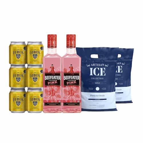 2 Gins BEEFEATER Pink Botella 750ml + 6 Aguas Tónica BRITVIC Lata 150ml + 2 Hielos Bolsa 1.5kg