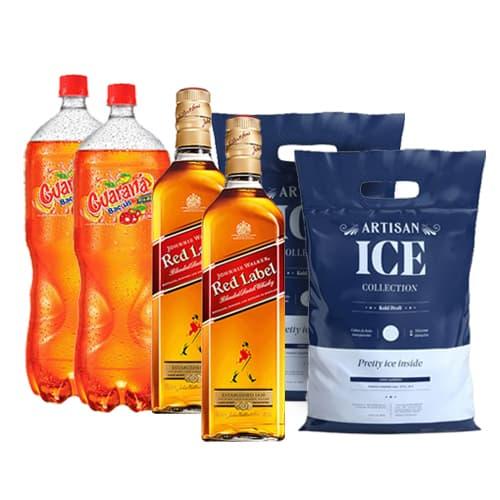 2 Whiskys JOHNNIE WALKER Red Label Botella 750ml + 2 Gaseosas GUARANA Botella 2lt + 2 Hielos Bolsa 1.5kg