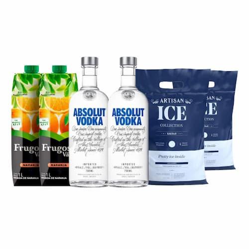 2 Vodkas ABSOLUT Botellas 750ml + 3 Jugos de Naranja FRUGOS Caja 1lt + 2 Hielos Botella 1.5kg