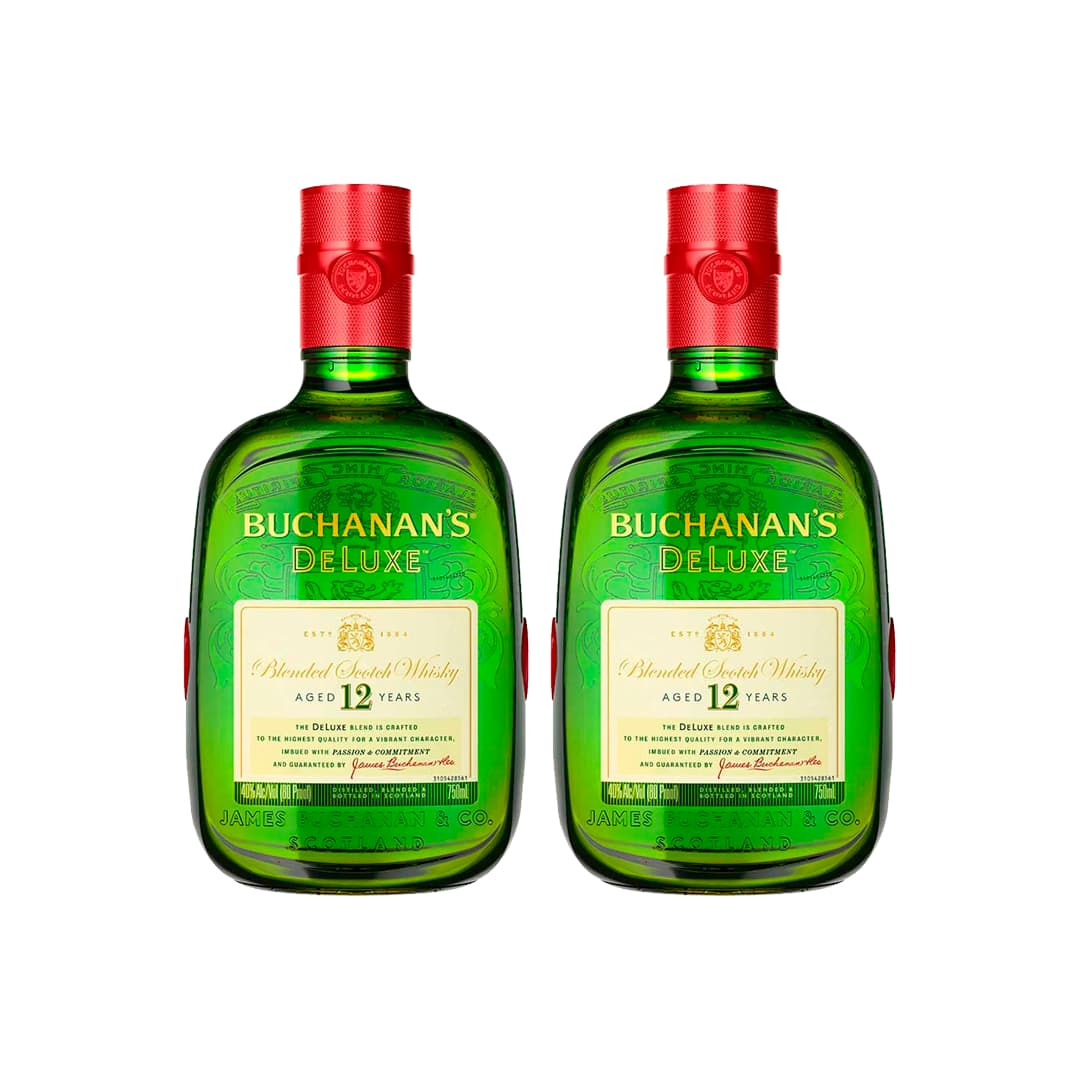 2 Whiskys BUCHANANS Deluxe 12 años Botella 750ml