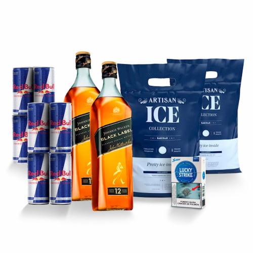 2 Whiskys JOHNNIE WALKER Black Label 750 ML + 8 RED BULL 250ml + 2 Hielos 1.5kg + 1 Cigarro LUCKY 10und