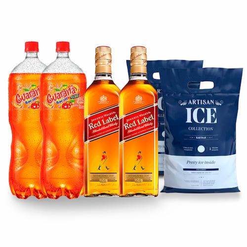 2 Whiskys JOHNNIE WALKER Red Label 750ml + 2 GUARANA 2lt + 2 Hielo 1.5kg