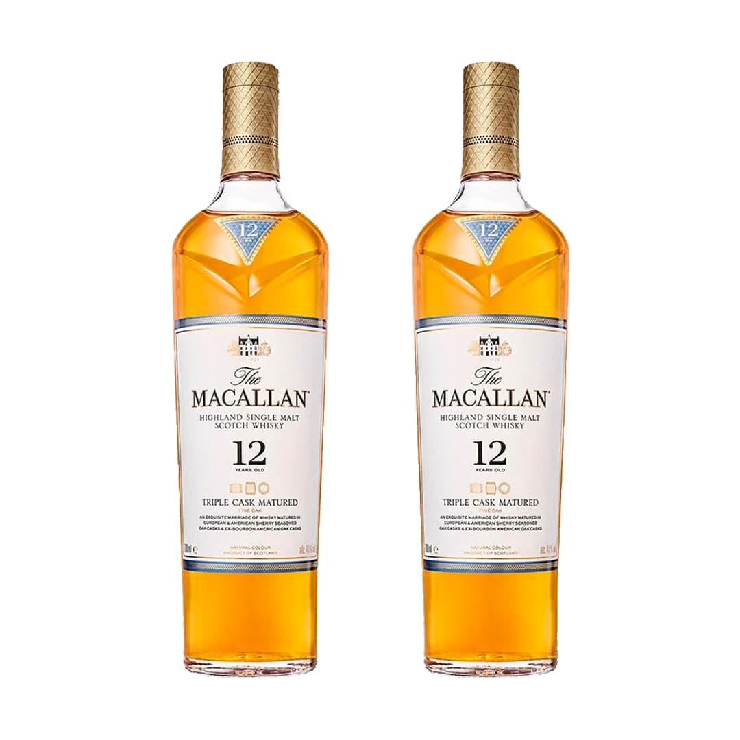 2 Whiskys MACALLAN Triple Cask Matured 12 Años Botella 750ml
