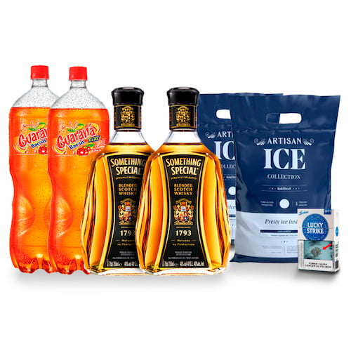 2 Whiskys SOMETHING SPECIAL + 2 GUARANA 2lt +2 Hielo 1.5kg + 1 Cigarro LUCKY 10und
