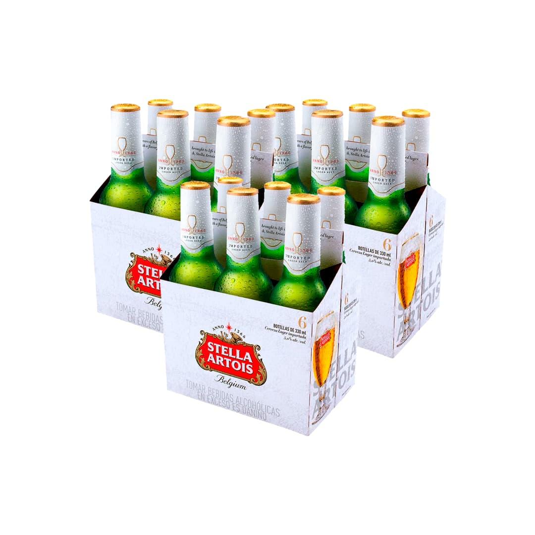 3 SixPack de Cerveza STELLA ARTOIS Botella 330ml