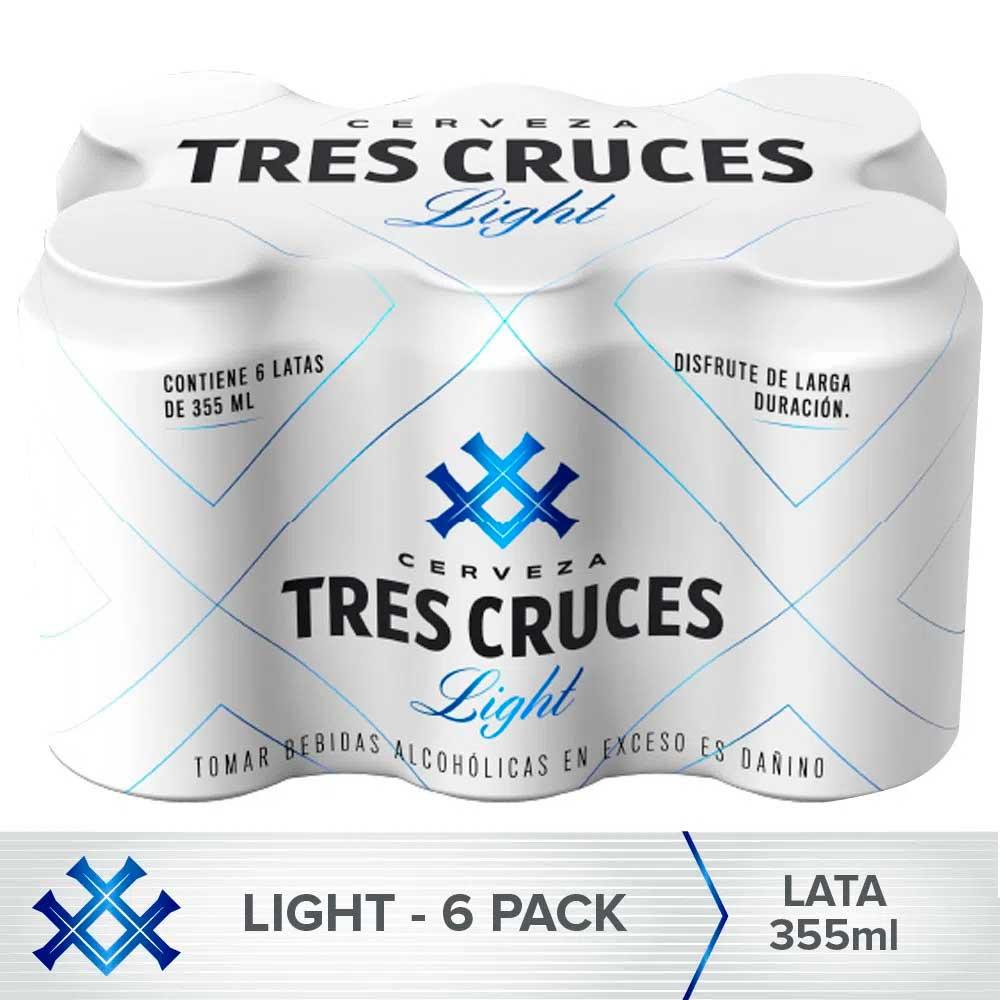 Cerveza Light TRES CRUCES Lata 355ml Pack 6un