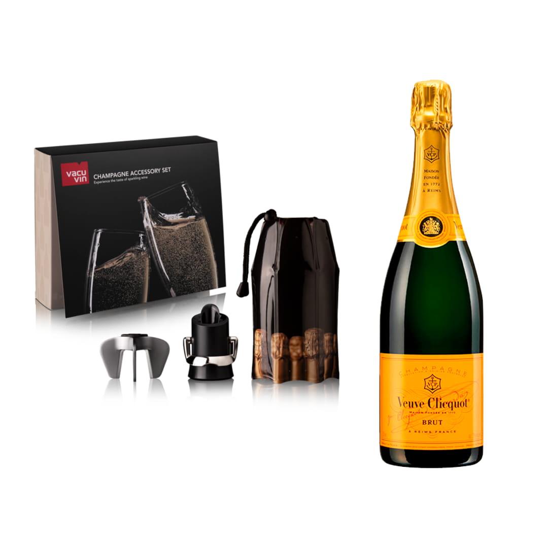Champagne VEUVE CLICQUOT Brut 750ml + Set VACU VIN Champagne Set