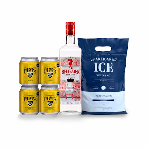 Gin BEEFEATER London Dry 750ml + 4 Aguas Tonicas EVERVESS Lata + Hielo 1.5kg