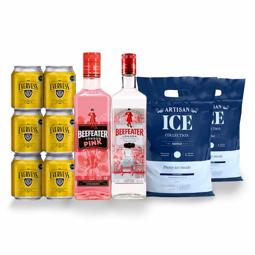 Gin BEEFEATER London Dry 750ml + Gin BEEFEATER Pink 750ml +6 Aguas Tonicas EVERVESS Lata + 2 Hielos 1.5kg