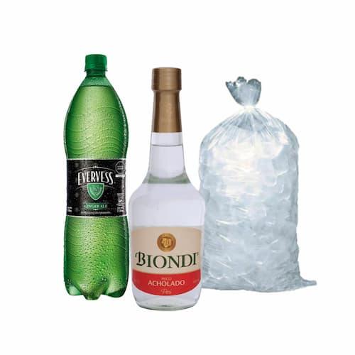 Pisco BIONDI Acholado Botella 500ml + Ginger Ale EVERVESS Botella 1.5lt + Hielo Bolsa 1.5lt
