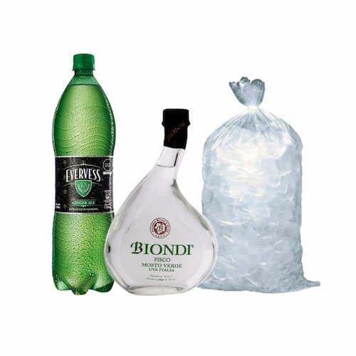 Pisco BIONDI Mosto Verde Italia Botella 500ml + Ginger Ale EVERVESS Botella 1.5lt + Hielo Bolsa 1.5lt