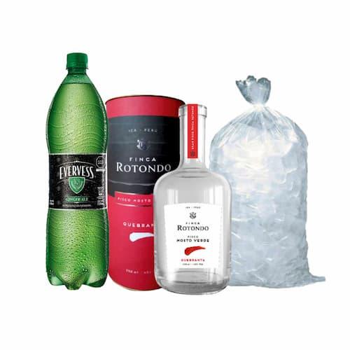 Pisco FINCA ROTONDO Mosto Verde Quebranta Botella 750ml + Ginger Ale EVERVESS Botella 1.5lt + Hielo Bolsa 1.5lt