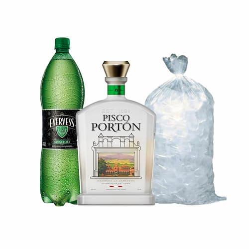 Pisco PORTÓN Mosto Verde Italia Botella 750ml + Ginger Ale EVERVESS Botella 1.5lt + Hielo Bolsa 1.5lt
