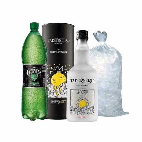 Pisco TABERNERO La Botija Acholado Botella 750ml + Ginger Ale EVERVESS Botella 1.5lt + Hielo Bolsa 1.5Kg