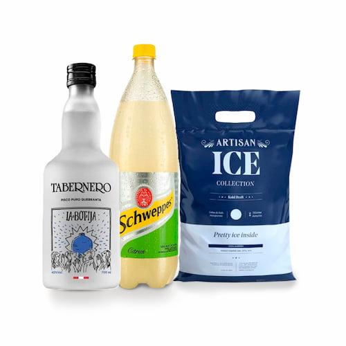 Pisco TABERNERO La Botija Quebranta Botella 750ml + Ginger Ale EVERVESS Botella 1.5lt + Hielo Bolsa 1.5kg