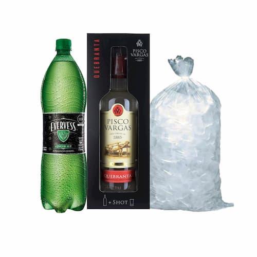 Pisco VARGAS Quebranta Botella 750ml + Ginger Ale EVERVESS Botella 1.5lt + Hielo Bolsa 1.5lt