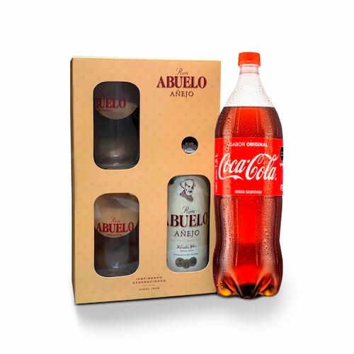 Ron ABUELO Añejo Botella 750ml + Gaseosa COCA COLA Botella 1.5lt + Hielo Bolsa 1.5kg