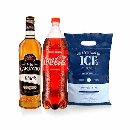 Ron CARTAVIO Black Botella 750lt + Gaseosa COCA COLA Botella 1.5lt + Hielo Bolsa 1.5kg