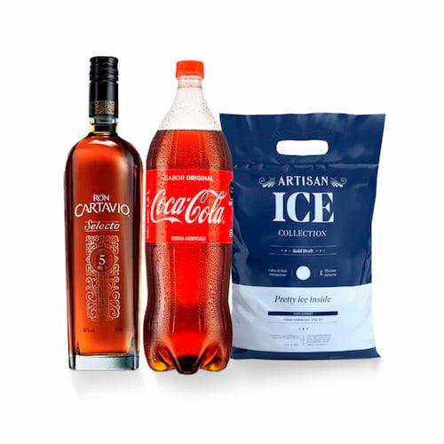 Ron CARTAVIO Selecto 5 años Botella 750ml + Gaseosa COCA COLA Botella 1.5lt + Hielo Bolsa 1.5kg