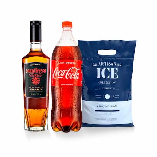 Ron SANTA TERESA Botella 750ml + Gaseosa COCA COLA Botella 1.5lt + Hielo Bolsa 1.5kg