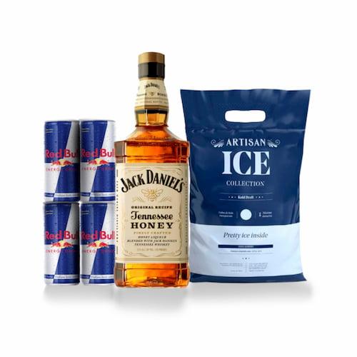 Whisky JACK DANIELS Honey Botella 750ml + 4 RED BULL Lata 250ml + Hielo Bolsa 1.5kg