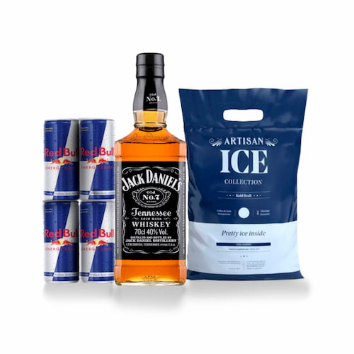 Whisky JACK DANIELS Old N°7 Botella 750ml + 4 RED BULL Lata 250ml + Hielo Bolsa 1.5kg